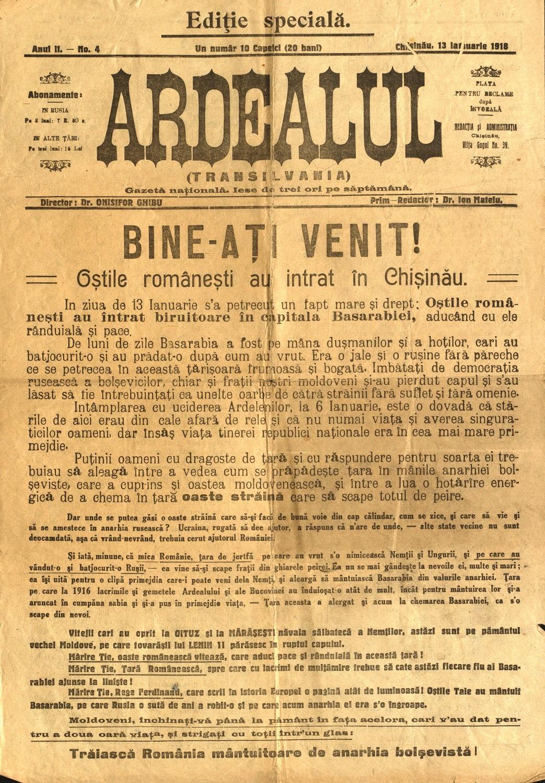 """Ziarul """"Ardealul"""", Chișinău din 13 ianuarie 1918 cu articolul Bine ați  venit, întâmpină sosirea trupelor române în Chișinău – Muzeul Virtual al  Unirii"""