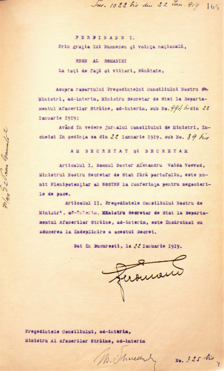 Decret regal de numire a lui Al. Vaida-Voevod, membru în Delegația României la Conferința de Pace, MAE