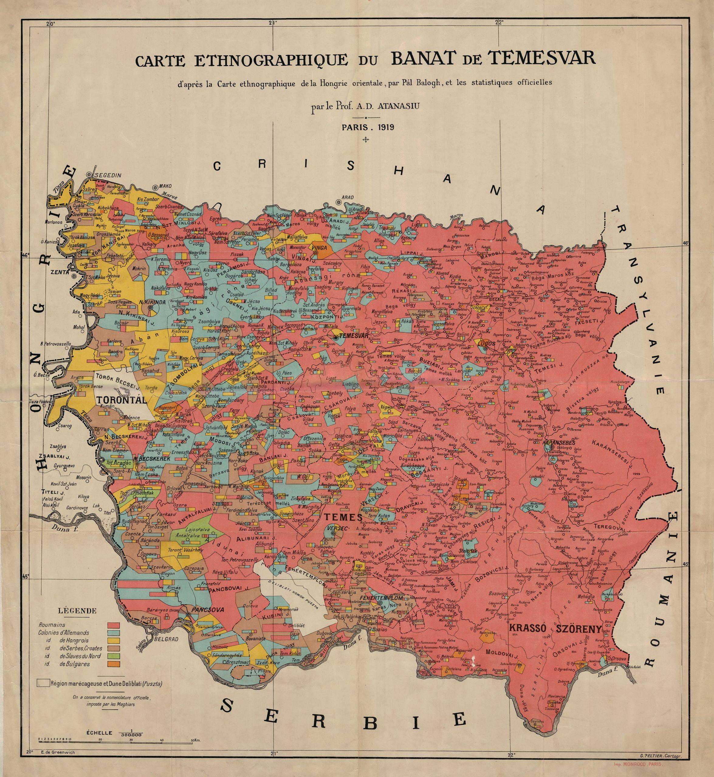 Hartă  realizată de A. D. Athanasiu,  Carte ethnographique du Banat de Temesvar d'après la Carte ethnographique de la Hongrie orientale, par Pál Balogh, et les statistiques officielles, 1919, Paris ; 90x80cm ; 1/300.000