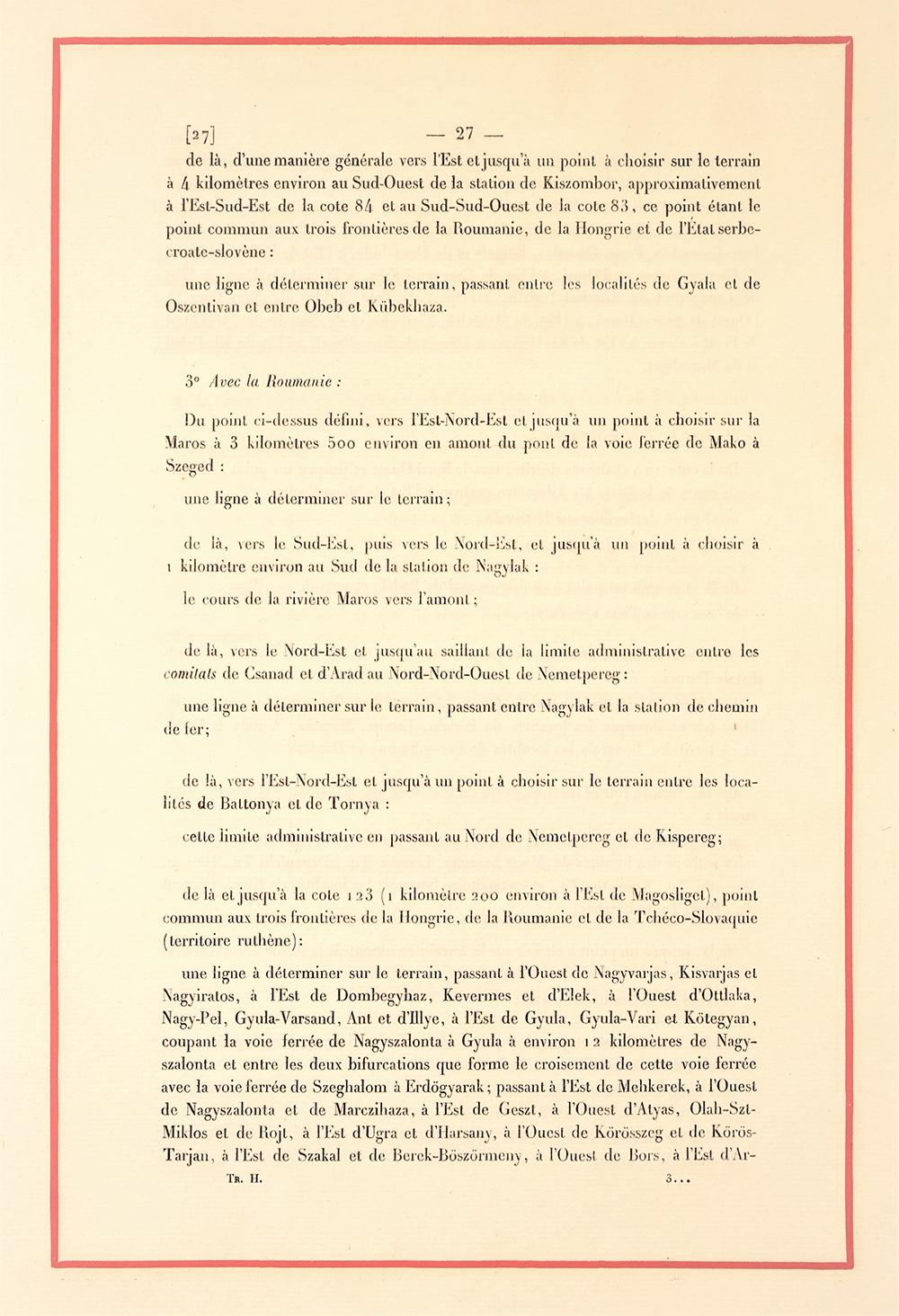 Frontierele Ungariei cu România, extras din Tratatul de la Trianon, AMAE
