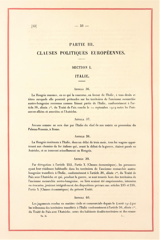 Clauze Politice Europene, România, extras din Tratatul de Pace cu Ungaria