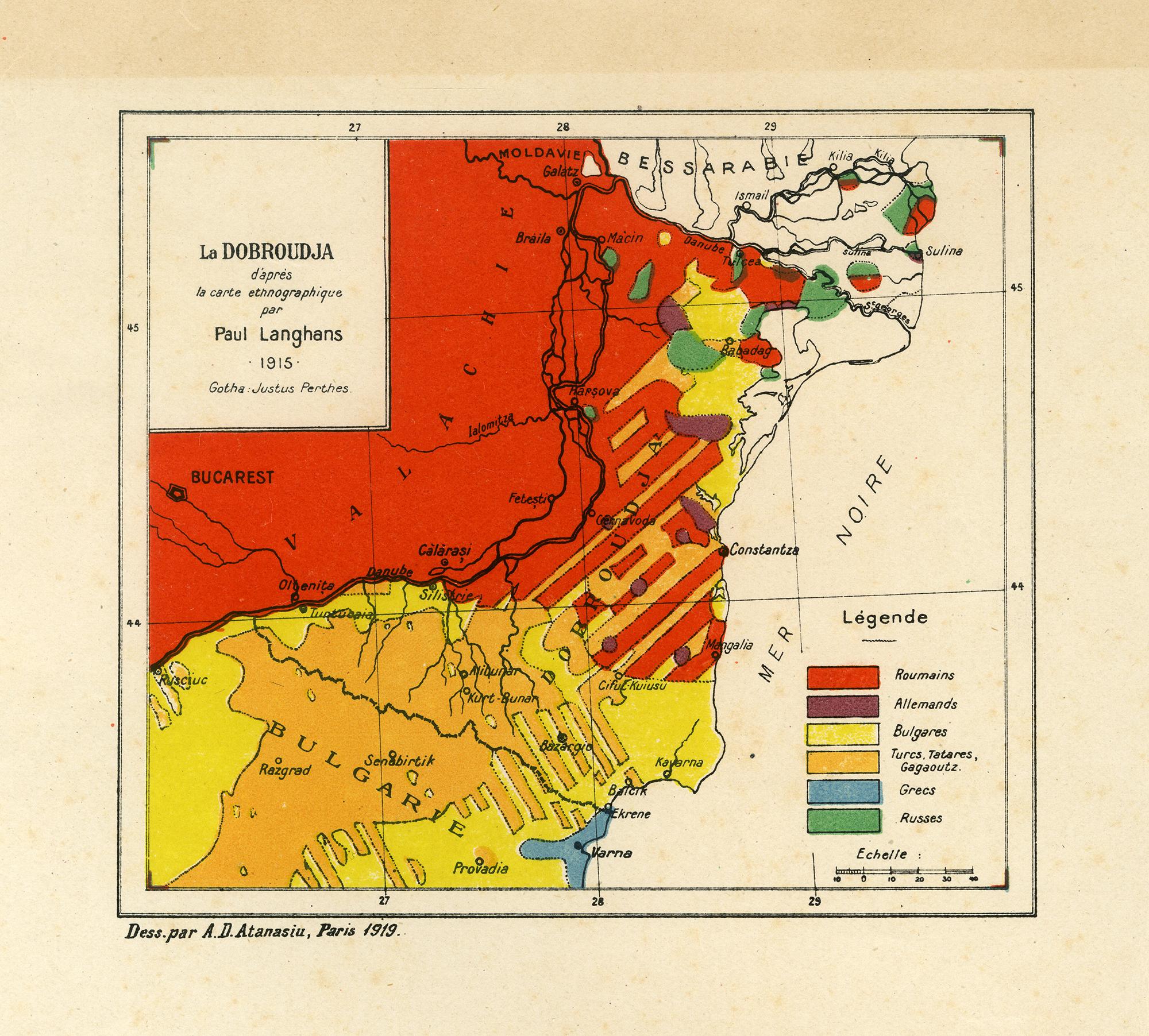 Hartă - La Dobroudja d'après la carte ethnographique par Paul Langhans 1915 Gotha Justus Perthes
