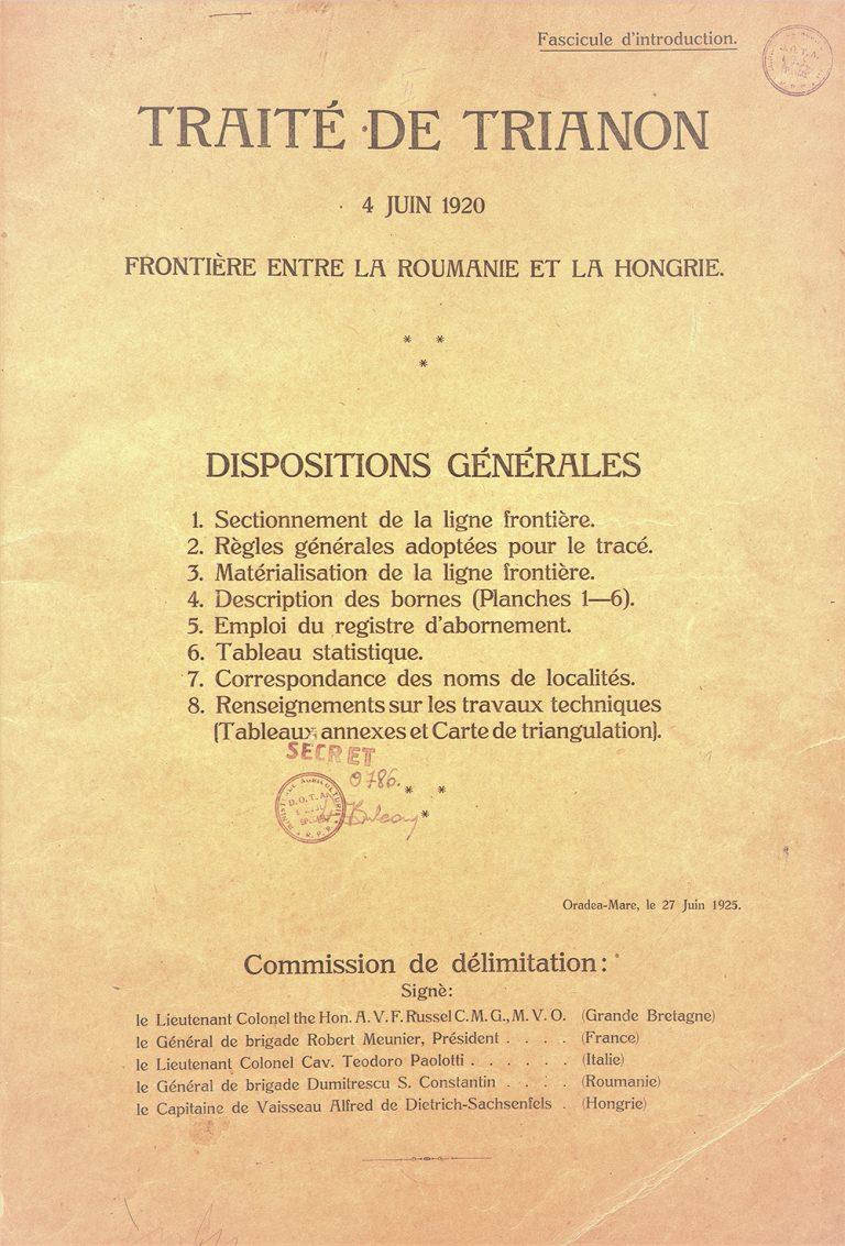 Delimitarea frontierei dintre România și Ungaria rezultat al activității Comisiei internaționale de delimitare, 27 iunie 1925, Oradea Mare