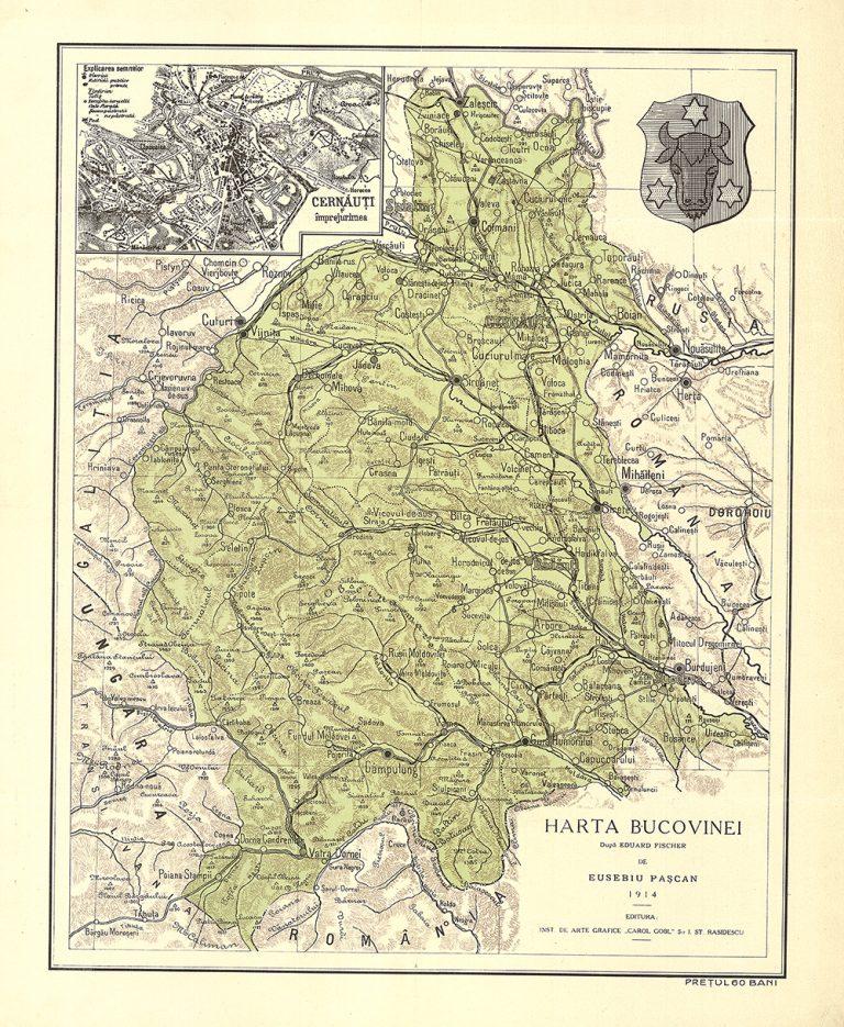 Hartă a Bucovinei de Eusebiu Pașcan, 1914 (după Eduard Fisher), MNIR