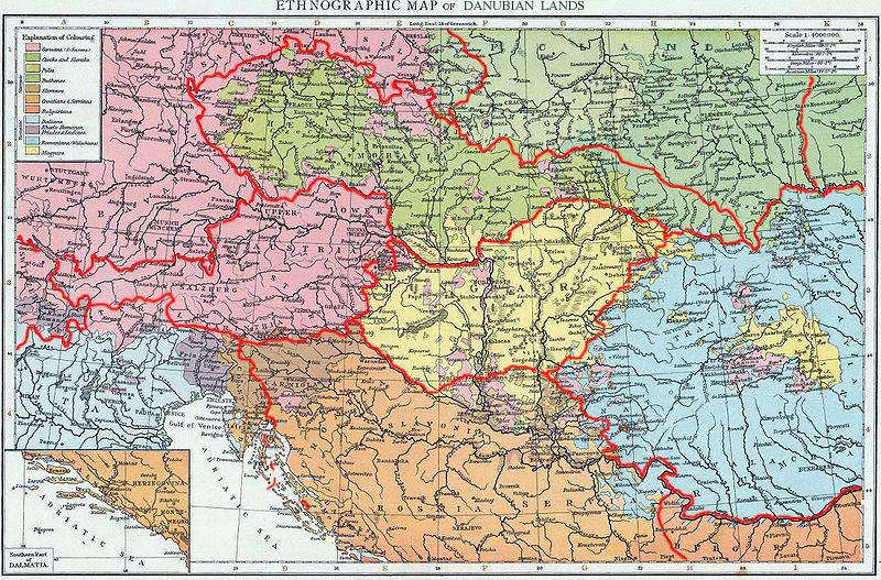 Hartă etnografică a țărilor danubiene