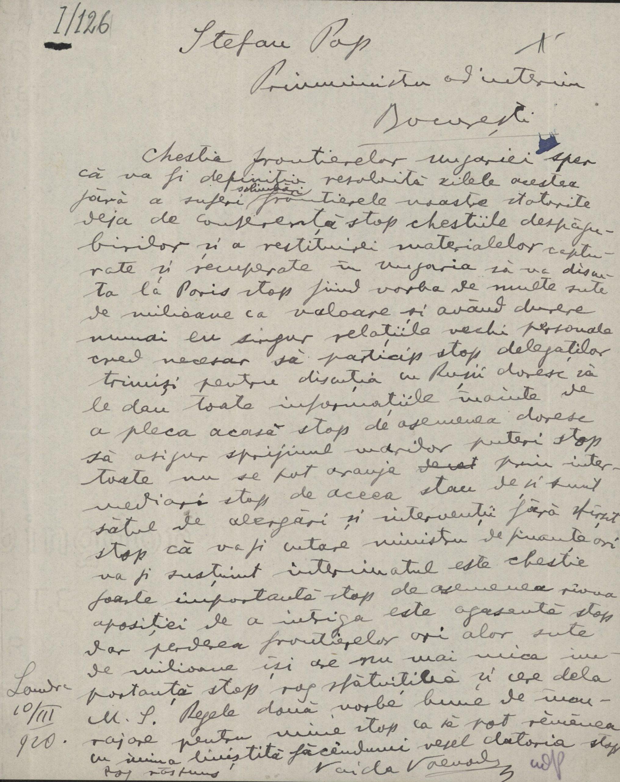 Telegramă a lui Vaida-Voevod adresată lui Ștefan Cicio-Pop privind discutarea frontierelor Ungariei, Londra, 10 martie 1920