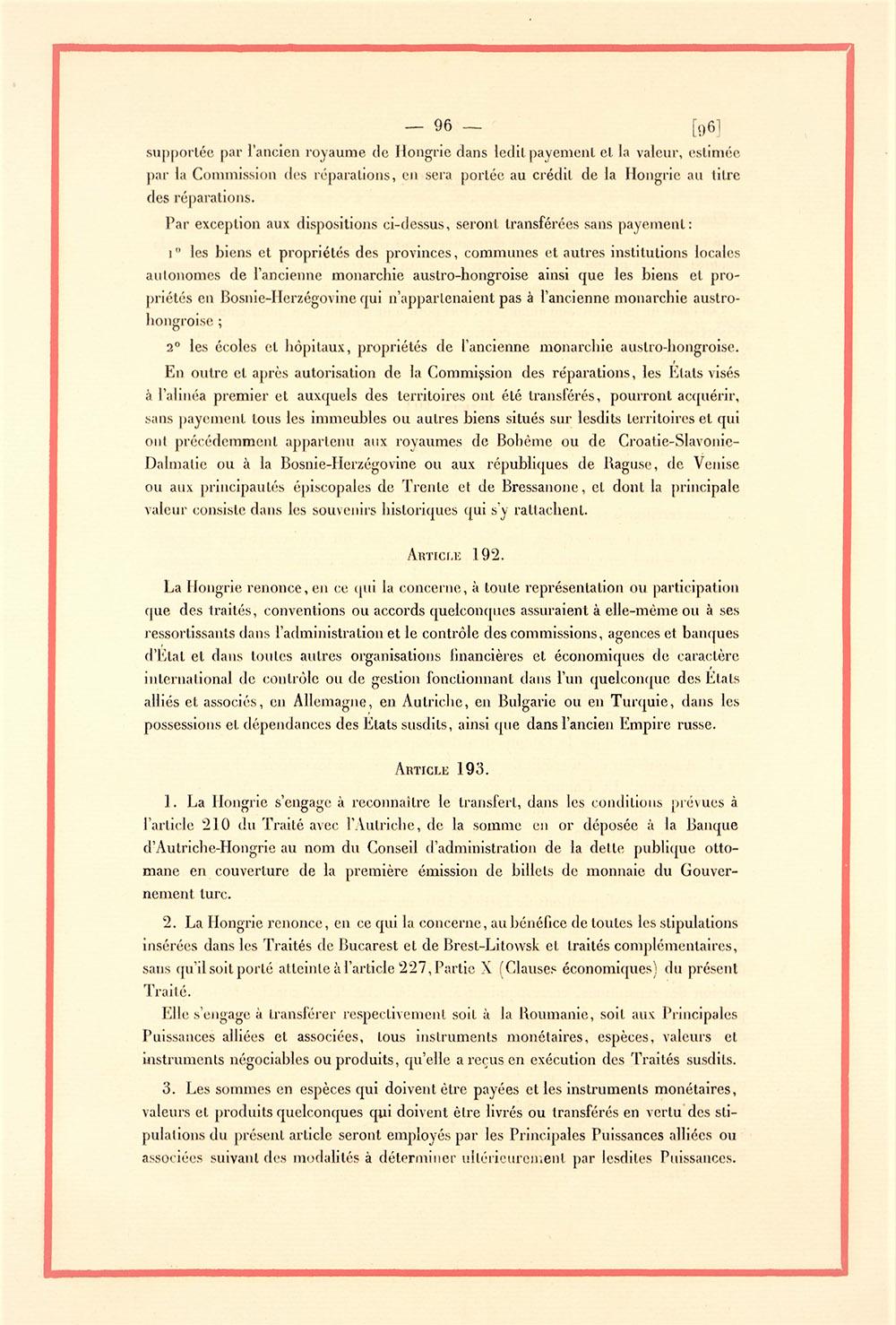 Clauze financiare, extras din Tratatul de Pace cu Ungaria