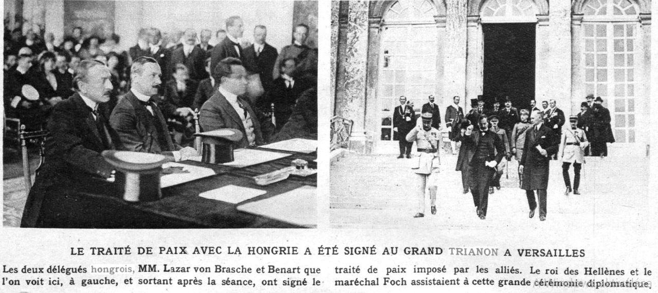 """Semnarea Tratatului de Pace cu Ungaria, Trianon, 4 iunie 1920 în ziarul """"Le Miroire"""" din 13 iunie 1920"""