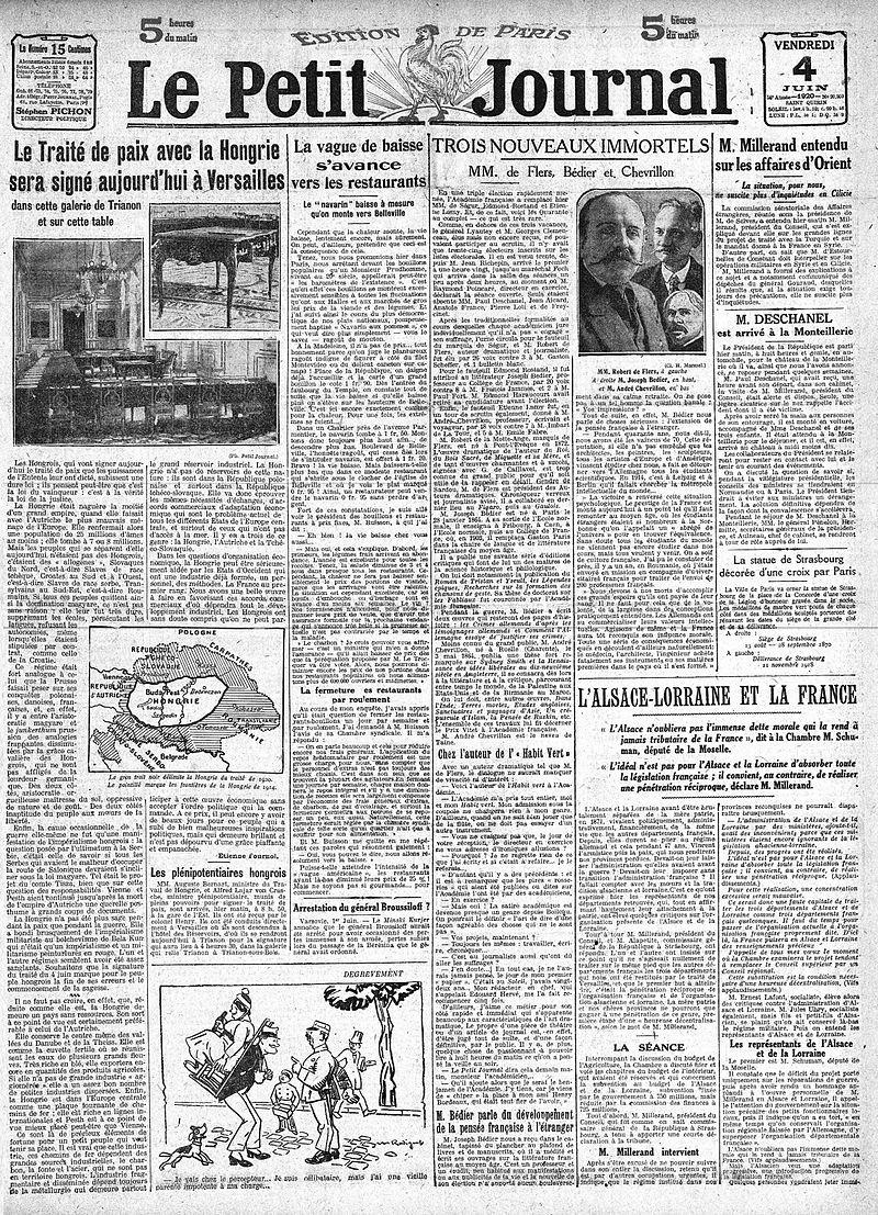 """Ziarul """"Le Petit Jurnal"""" din 4 iunie 1920 despre semnarea Tratatului de Pace cu Ungaria"""