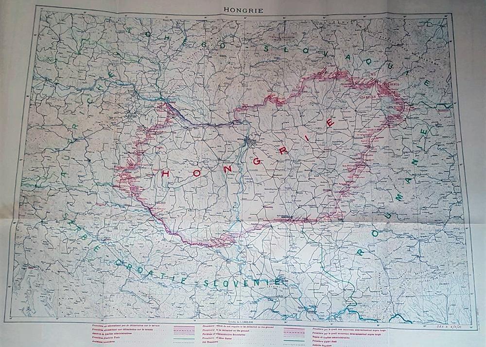 Harta a Ungariei la semnarea Tratatului de Pace