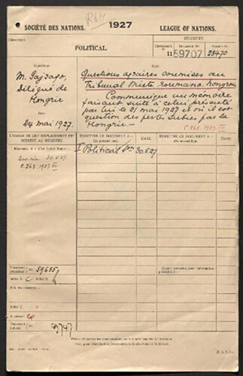 Filă cu înregistrarea la Societatea Națiunilor a unor probleme agrare supuse Tribunalului Arbitral Mixt Româno-Ungar, 25 mai 1927