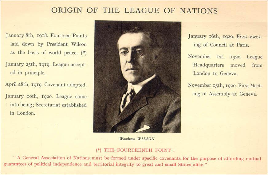 Afiș de epocă privind originea Societății Națiunilor