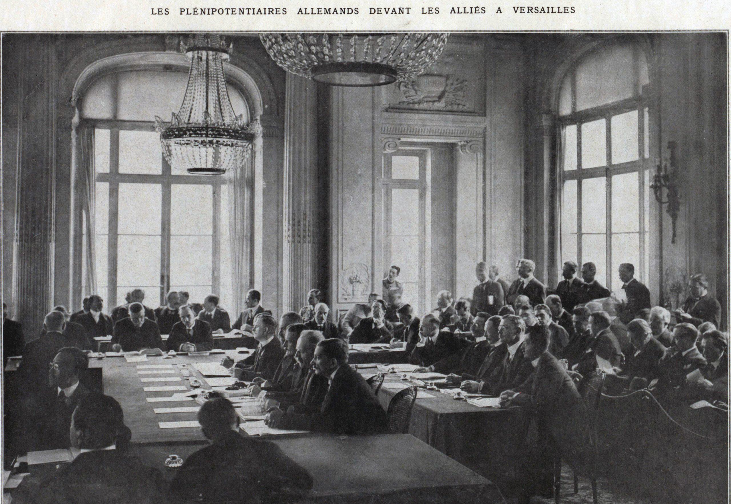 Plenipoterntiarii germani in fata aliatilor la Versailles