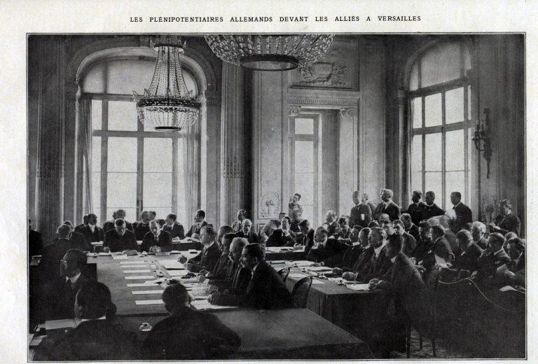 Delegația germană în fața Conferinței de Pace, Palatul Versailles, 7 mai 1919