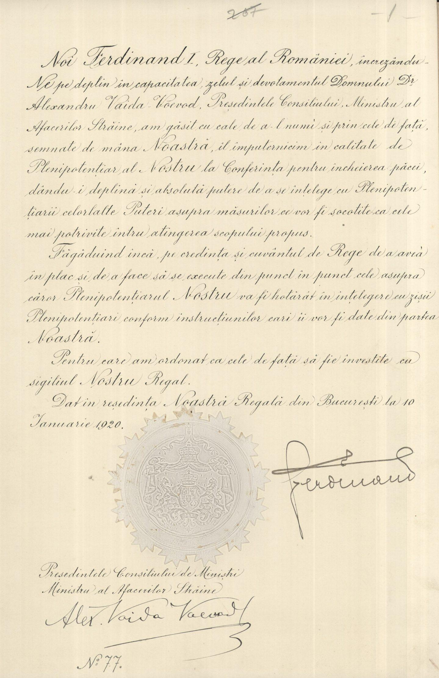 Decret Regal de numire a lui Alexandru Vaida-Voevod, președintele Consiliului de Miniștri, Ministru al Afacerilor Străine, în calitate de plenipotențiar al României la Conferința de Pace de la Paris, 10 ianuarie 1920, ANR, SANIC, fond pers. Vaida-Voevod, dosar 118, f. 2.