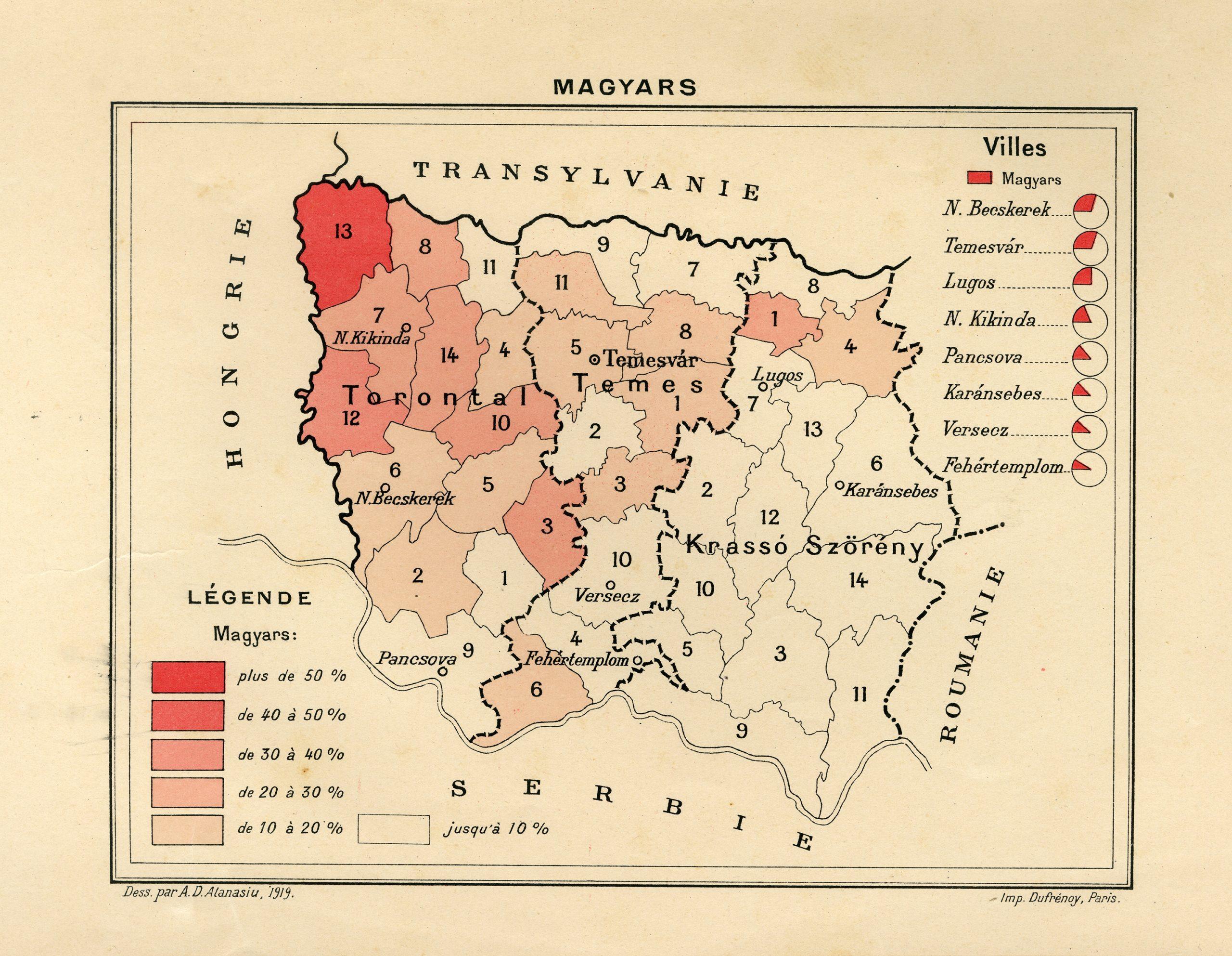 Harta Banatului – Magyars, Imprimerie Dufrenoy, Paris