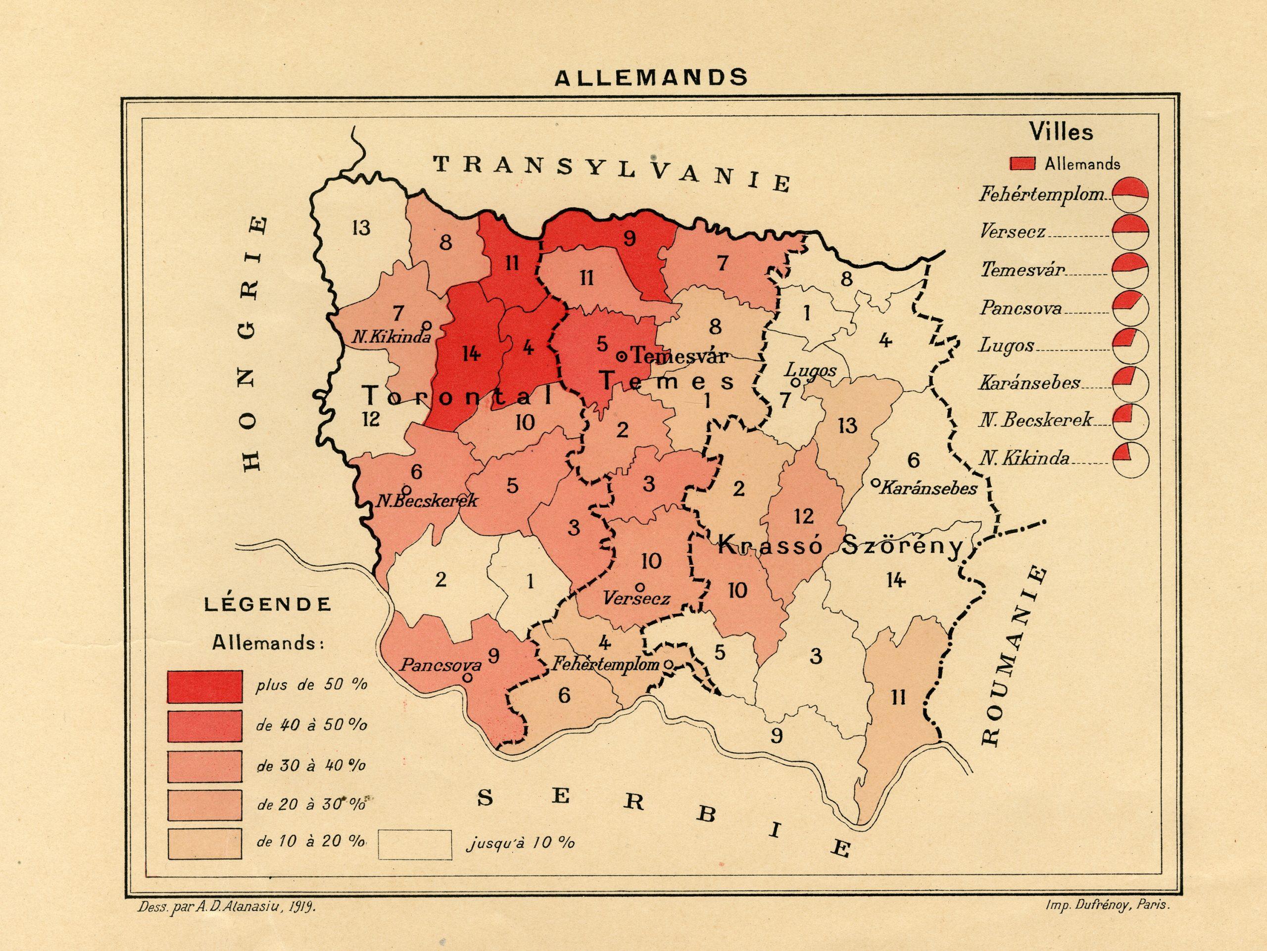 Harta Banatului – Allemands, Imprimerie Dufrenoy, Paris